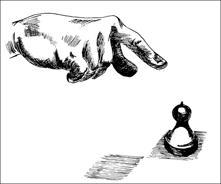 Line art illustration of a human hand, pointing at chess pawn piece for business strategy concept.