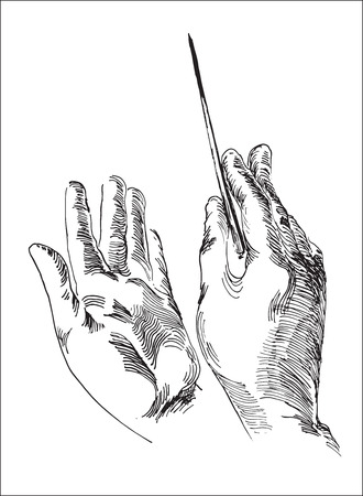 Line art illustration of a human hands, holding conductors baton for business strategy concept. Illustration