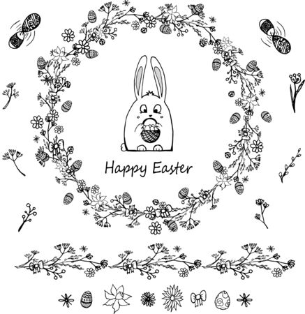 Black and white Easter rabbit  in a wreath of herbs whith easet objects Çizim