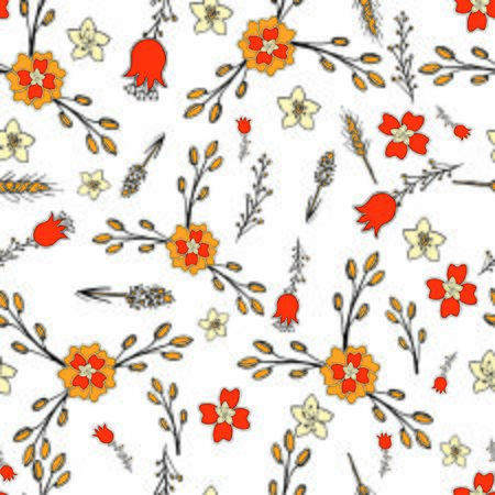 Cheerful seamless background Wallpaper of flowers - dry leaves and bell flowers on white background - Vector graphics 向量圖像