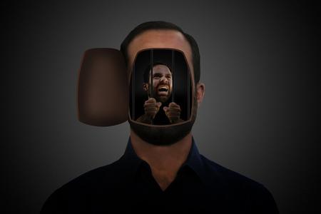 Man prisoner in its own head. Archivio Fotografico