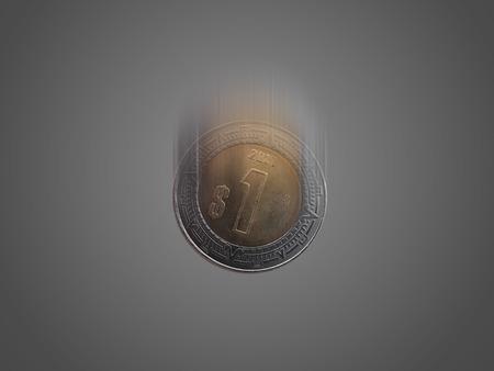 signo de pesos: Un peso mexicano cayendo.