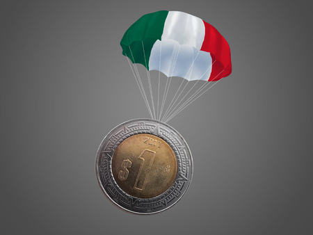 One Mexican peso coin with a Mexican colored parachute. Imagens
