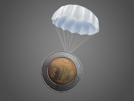One Mexican peso coin with a white parachute.