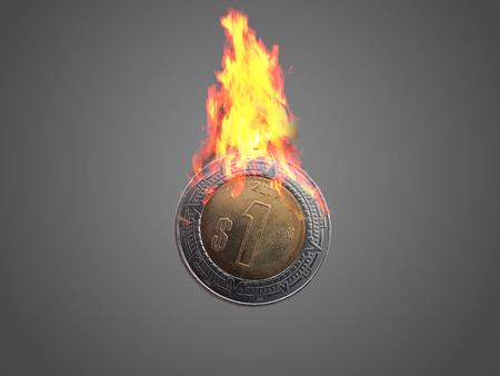 signo de pesos: Un peso mexicano coincide con las llamas.