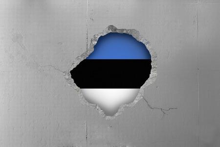 estonian: Estonian flag behind a concrete wall.