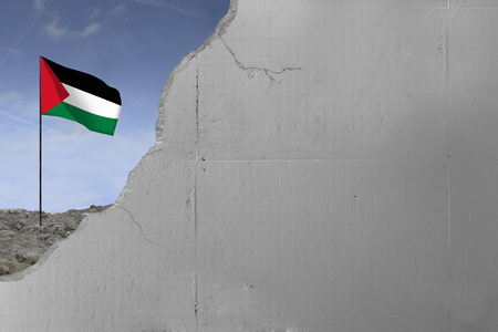 Palestinian flag behind a concrete wall.