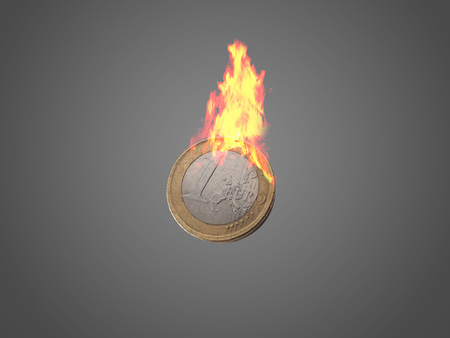 One Euro coin with flames.