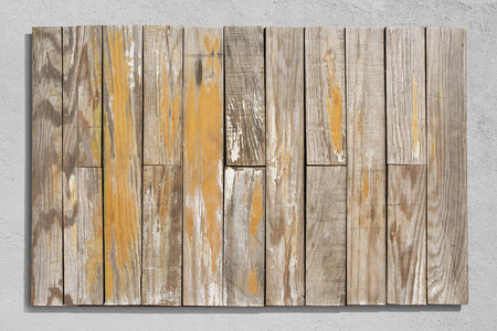 Old vintage wood sing with rough wall background.