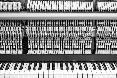 classical mechanics: Opened piano with eyesight mechanical parts Stock Photo