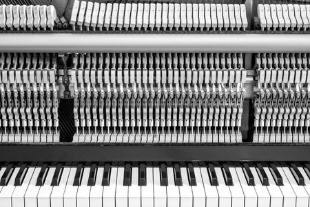 classical mechanics: Opened piano with mechanical parts