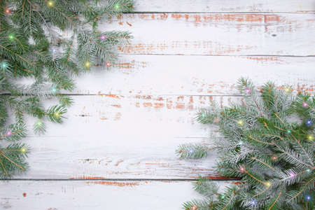 Coniferous spruce branches  with snow and colored ligon white abraded boards. Natural Christmas and winter background or concept.