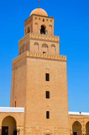kairouan: One of the biggest mosques in the world, it stands in Kairouan in Tunisia Stock Photo