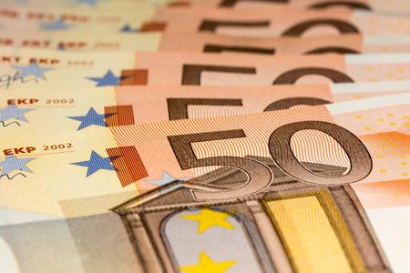 50 euro: 50 euro bills stacked
