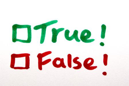 True or False written on piece of paper