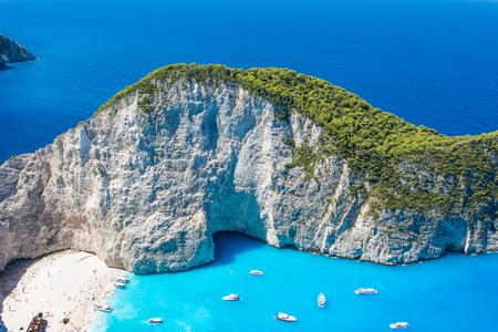 ギリシャ、ザキントスのナヴァイオ ・ ビーチの美しい景色