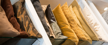 Soft pillows in row