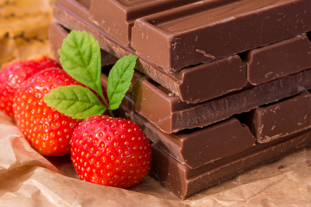 Chocolate stacked with strawberries and mint Stock fotó