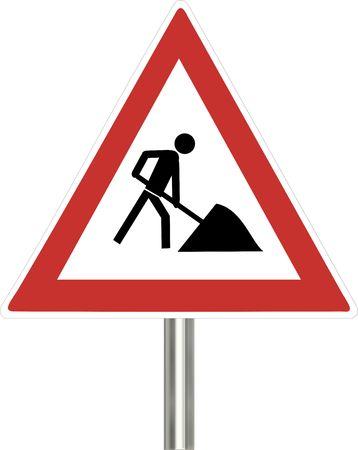 signo de obras de la carretera Foto de archivo