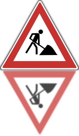 road works, street sign
