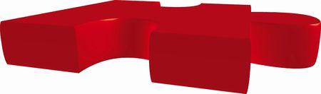 pieza de un puzzle rojo delante de un fondo blanco  Foto de archivo