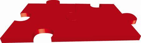 rojo puzzle basado en delante de un fondo neutro