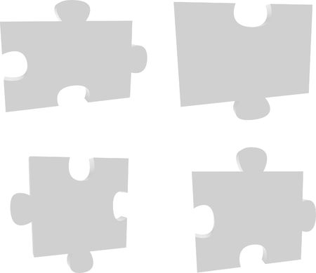 four pieces of a puzzle Stock Photo
