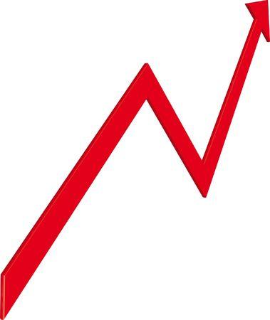 arrow on a white ground as symbol fot the economy Stock Photo