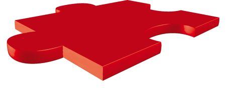 rojo pieza de un puzzle delante de un fondo neutro  Foto de archivo