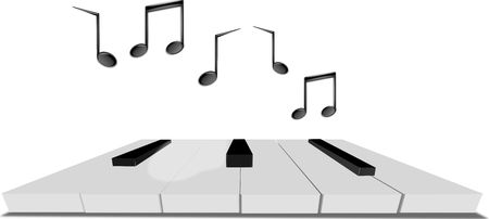 keyboard with music tones Stock Photo