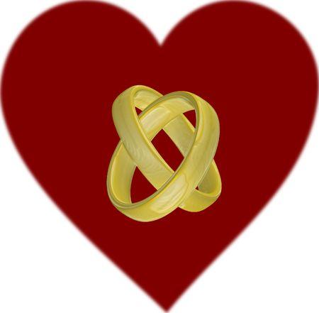 anillo de matrimonio en frente de un coraz�n