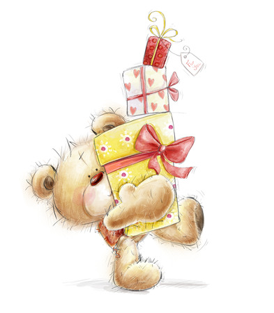 felicitation: Teddy Bear with the gifts.Childish illustration in sweet colors.Background with bear and gifts. Hand drawn teddy bear isolated on white background. Stock Photo