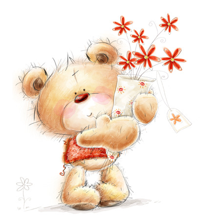 oso caricatura: Lindo oso de peluche con las flores rojas. Fondo con el oso y tarjeta de felicitación flowers.Valentines. Amor diseño.I te amo. Tarjeta de felicitación de cumpleaños.