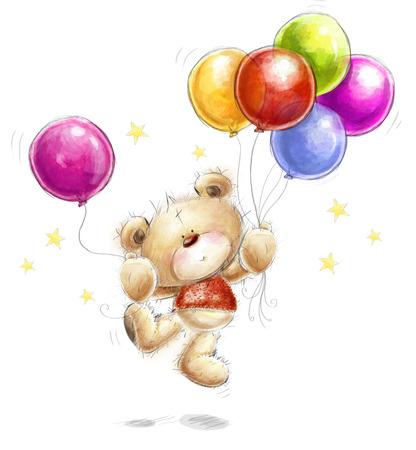 カラフルな風船や星とかわいいテディベア。クマと風船の背景。誕生日グリーティング カード。パーティの招待状。
