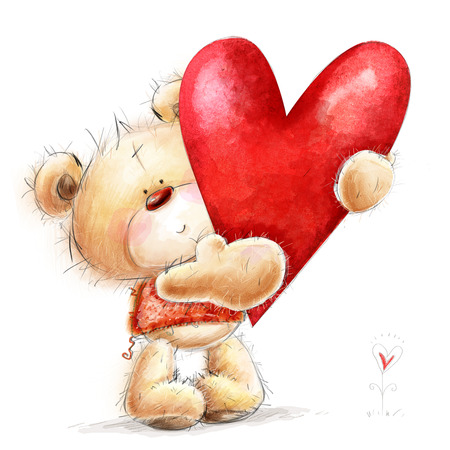 love card: Teddy Bear with the big red heart.Childish illustration in sweet colors.Background with bear and heart. Stock Photo