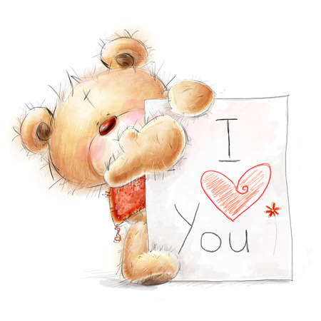 fall in love: Cute teddy  bear with the big paper with the text. Background with bear and heart. Stock Photo