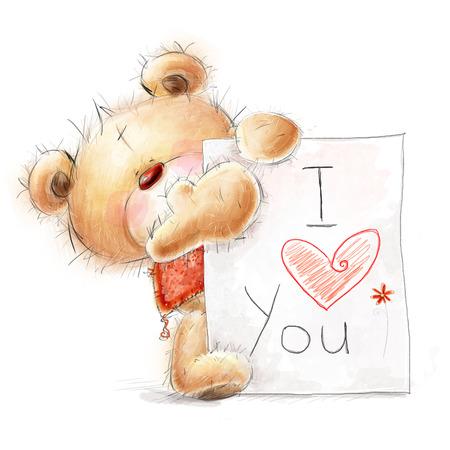 Lindo oso de peluche con el gran papel con el texto. Fondo con el oso y el corazón. Foto de archivo