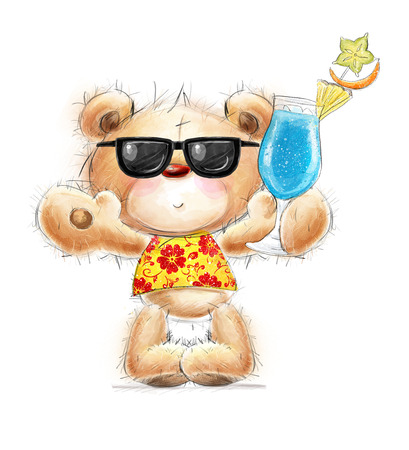 Cute  teddy bear with the cocktail in the summer glasses and Hawaiian shirt Stok Fotoğraf