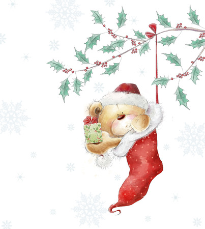 Cute teddy bear with the gift in the Santa hat.Childish illustration in sweet colors.Background with bear and gift.Christmas greeting card Imagens - 30996474