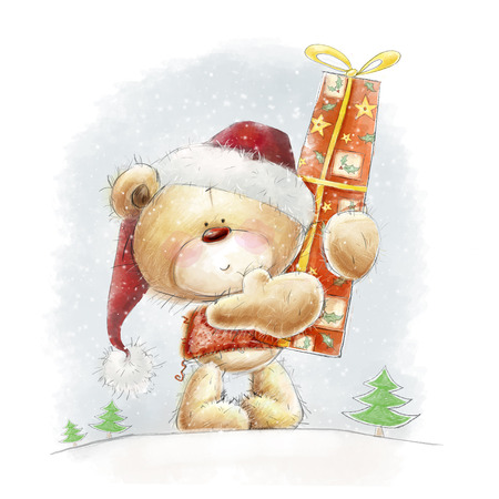 ute teddy bear with the big red gift in the Santa hat.Childish illustration in sweet colors.Background with bear and gift.Christmas greeting card.