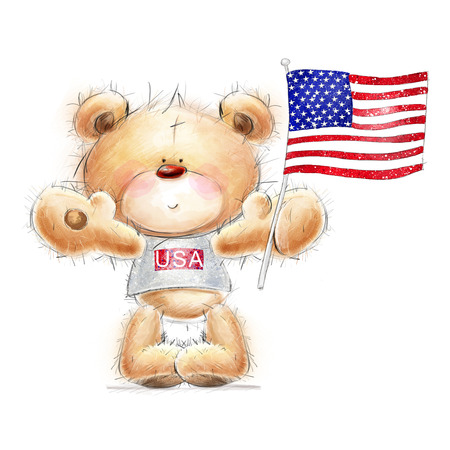 Cute Teddy bear with the  USA flag. Background with bear and flag.Independence day. Greeting card with cute Teddy  .