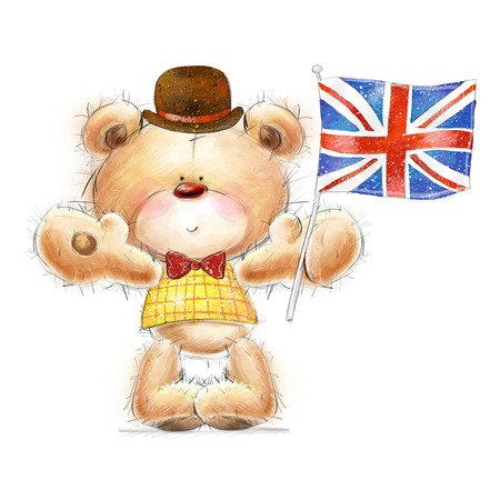 Cute Teddy bear with the  UK flag in the hat. Background with bear and flag.Greeting card with cute Teddy