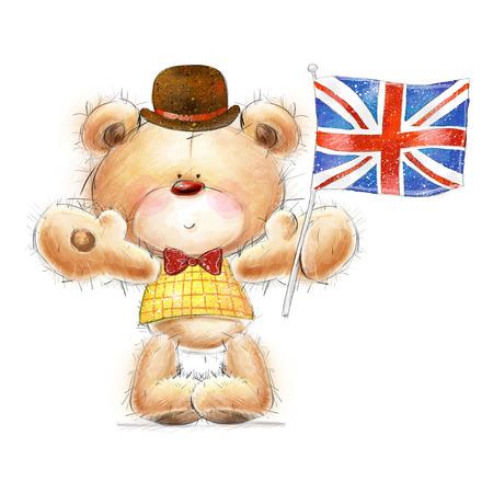 Simpatico orsacchiotto con la bandiera del Regno Unito nel cappello. Sfondo con orso e carta flag.Greeting con cute Teddy Archivio Fotografico - 30996479