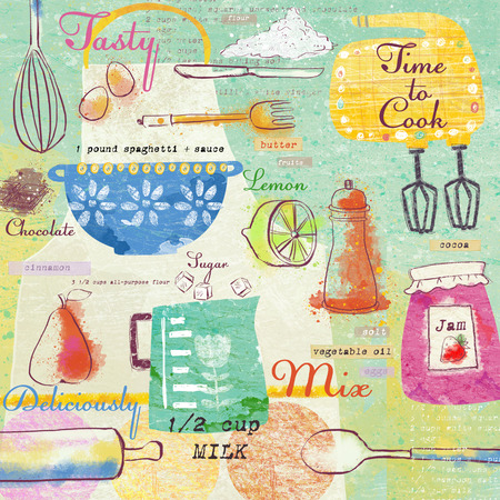 Seamless pattern with kitchen items.Stylish design elements:fork, spoon, bowl, mixer, lemon, knife and others.Food background.