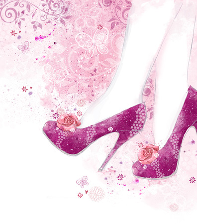 Fashionable Pink high heel women shoes on pink background with flowers. Fashion background.Shopping photo