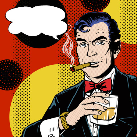 Vintage Pop Art Man with glass  smoking  cigar and with speech bubble.  Stock Photo