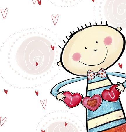 caes: Te amo tarjeta postal. Muchacho lindo con los corazones. Tarjeta de felicitación del día de San Valentín. El amor de fondo. Amor ilustración. Muchacho sonriente con el corazón en las manos.