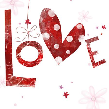 cuore: Gentle romantico seamless con le parole di amore, fiori e grande cuore. Seamless pattern può essere utilizzato per gli sfondi, riempimenti a motivo, pagina web sfondi, superficie Archivio Fotografico