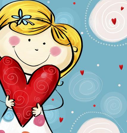 あなたがはがきを大好きです。大きな心でかわいい女の子。バレンタイン カード。幸せな母の日。背景が大好きです。イラストが大好きです。
