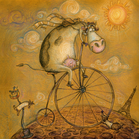 funny pictures: Cute cow on the bicycle.Vintage background.Children illustration.